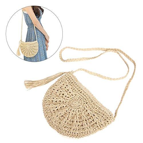 Straw Crossbody Bag, JOSEKO Women Weave Shoulder Bag Summer Beach Purse for Travel Everyday Use Off White 28 x 15 x 26cm(L x W x H) by JOSEKO