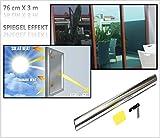300x76cm Window Tint Window Film Tinting Film Self-Adhesive Window Film Mirror Effect Chrome Silver One-Way Vision