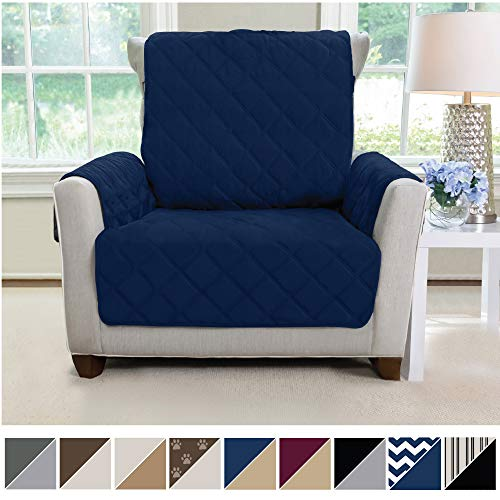 MIGHTY MONKEY Premium Reversible Chair Slipcover, Seat Width to 23 Inch Furniture Protector, 2 Inch Elastic Strap, Washable Armchair Slip Cover for Kids, Dogs, Cats, Chair, Navy Blue Tan
