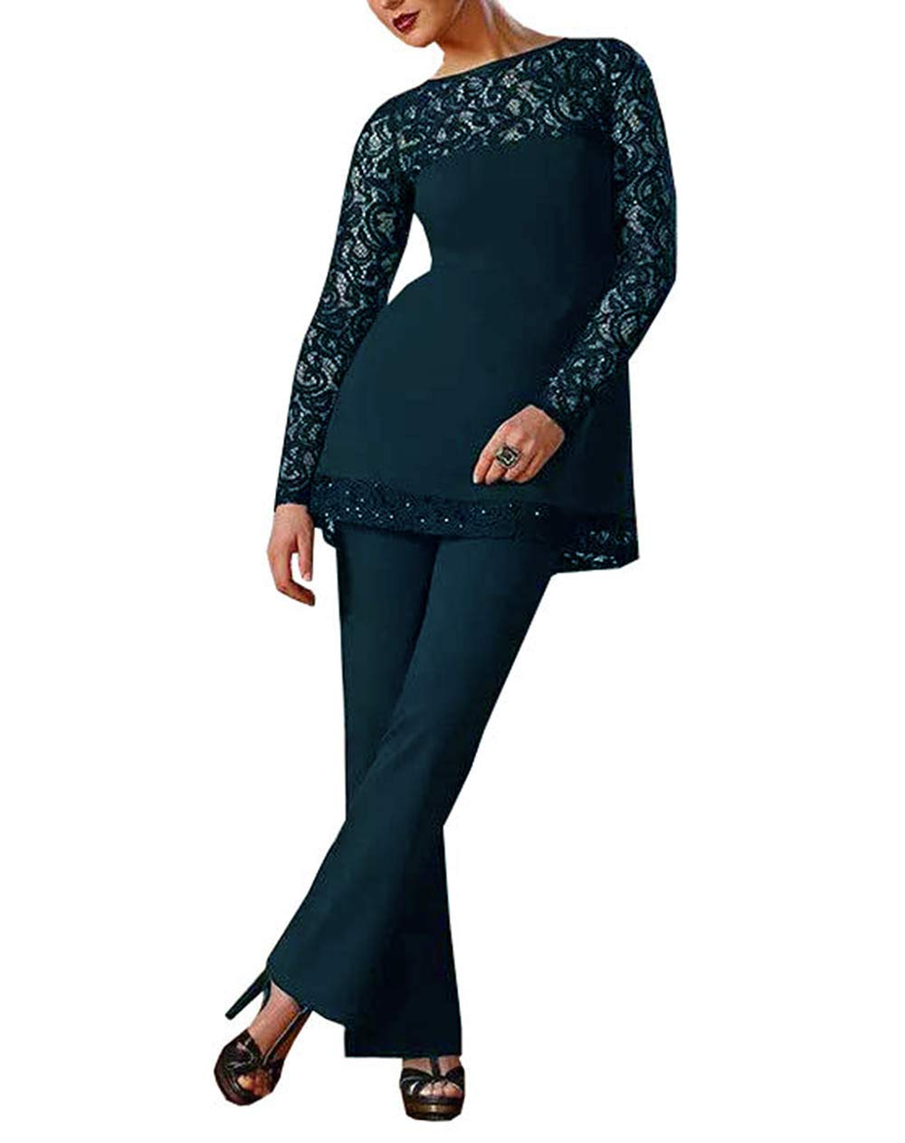 76e00d5e384f Home Brands Fitty Lell Fitty Lell Women s Chiffon Mother of Bride Dress Pant  Suits Long Sleeves Beaded Mother of Groom(US20 Plus