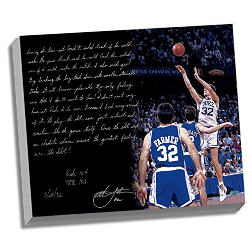 NCAA Duke Blue Devils 22x26 Christian Laettner Facsimile 'The Shot' Story Stretched Canvas by Steiner Sports