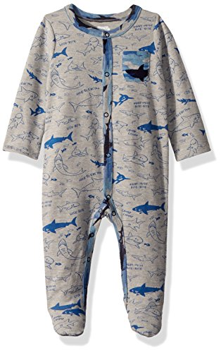 Mud Pie Baby Boys Camo Shark Long Sleeve Footed Sleeper, Blue, 6-9 ()