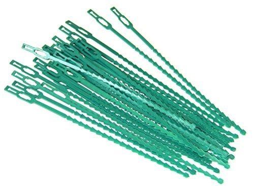 Pack of 30pc Green Plastic Gardening & Plant Ties, Adjustable, Flexible, 8.5