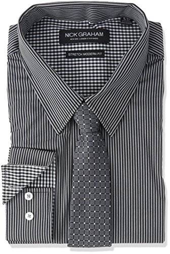 Nick Graham Men's Modern Fitted Pencil Strip Stretch Shirt with Micro Neat tie, Black, M-R 32/33