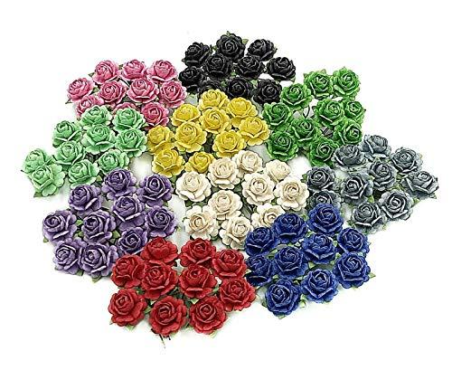 (NAVA CHIANGMAI Beautiful Artificial Mulberry Paper Mini Rose Flower Wedding Card Embellishment Craft, Scrapbooking Doll House Supplies Card,DIY Mixed Colour Flower Accessories Scrapbook Decoracion)