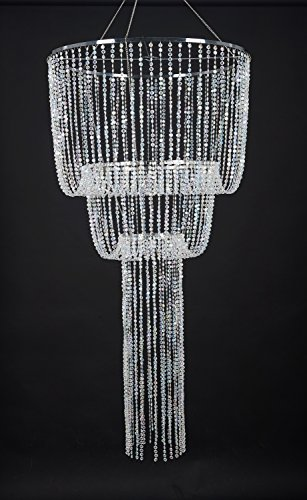 - FlavorThings Medusa Hanging Event Chandelier, Diamond Cut Beaded Faux Crystal Sparkling Iridescent Large Wedding Chandelier,2 Feet Diam x 4 Feet Long
