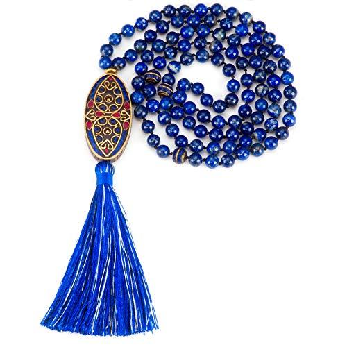 Cherry Tree Collection Mala Necklace | 108 Hand-Knotted 8mm Gemstone Round Beads, Tibetan Guru and Counter Beads, and Tassel | Meditation, Buddhist Prayer, Healing (Lapis)
