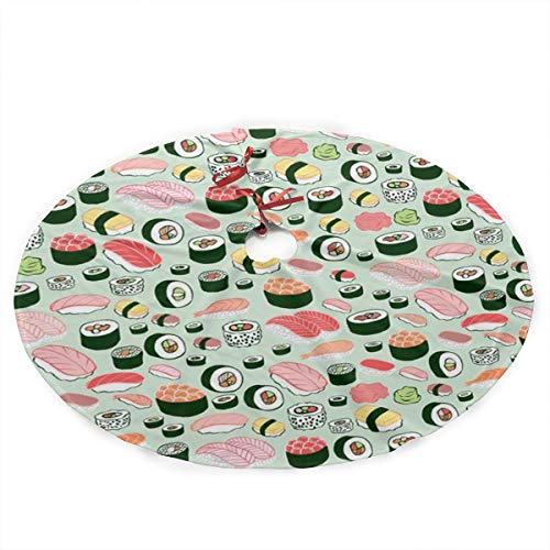 Max-uedv Sushi Christmas Tree Skirt, Traditional Theme Festive Holiday Design for Xmas Party -