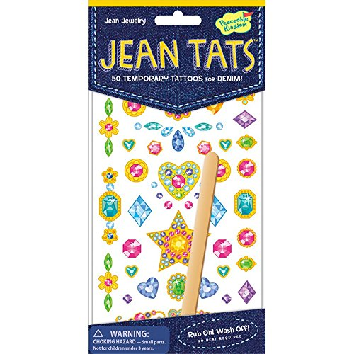 Peaceable Kingdom Jean Tats Jewelry Temporary Tattoos for Fabric -