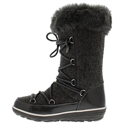 Polar Products Dames Regen Thermisch Warm Snow Winter Kniehoge Waterdichte Laarzen Grijs