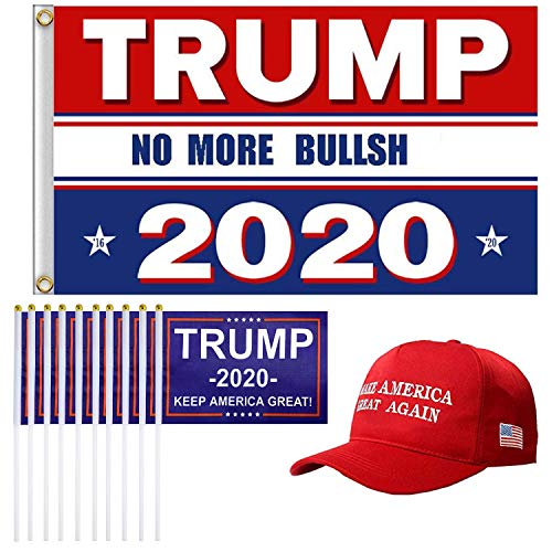 Maycoo 1 Pack President Donald Trump Flag 2020 (3 x 5 Feet) Make America Great Again Hat and 10 Pieces Keep America Great Small Mini Hand Held Flags for Supporting President Trump
