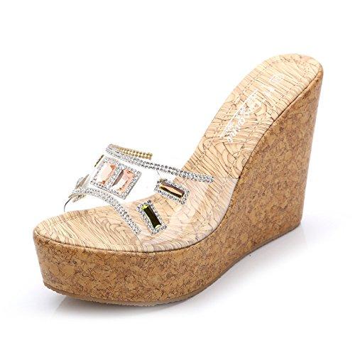 spesse cunei col d'estate 12cm muffin pantofole spiaggia albicocca spiaggia sandali 10 GTVERNH trentaquattro tacco pantofole diamanti pantofole pantofole femmina e 0EqFwZp