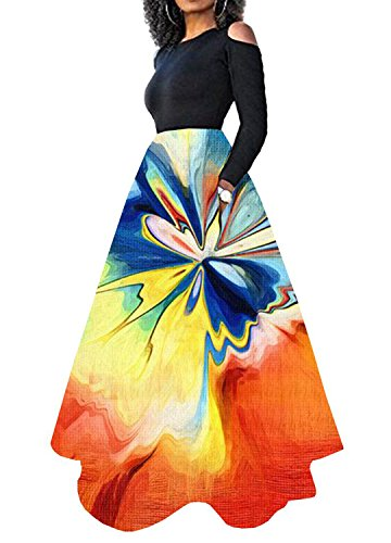 Naimo Women Full Length Elastic Floral Print Beach Dress Long Maxi Pleated Skirt
