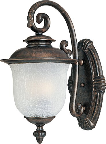 ia Cast 3-Light Outdoor Wall Lantern, Chocolate Finish, Frost Crackle Glass, CA Incandescent Incandescent Bulb , 40W Max., Dry Safety Rating, Standard Dimmable, Fabric Shade Material, Rated Lumens (Chocolate Outdoor Wall Light)