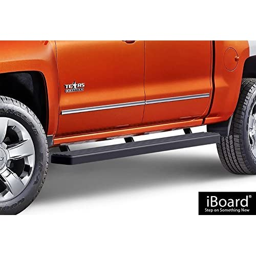 "APS IBCZ5928 Black 4"" Running Board Side Step (iBoard Third Generation, For Selected Chevy Silverado/GMC Sierra Crew Cab, Aluminum) for sale"
