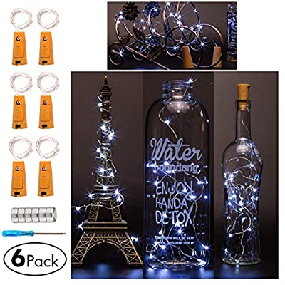Wine Bottle Cork Lights, Battery Operated LED Cork Shape Silver Copper Wire Colorful Fairy Mini String Lights for DIY Party Christmas Halloween Wedding,Outdoor Indoor Decoration,6 Pack