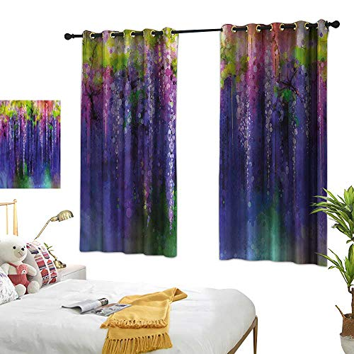 Thermal Curtains Flower,Ornamental Wisterias Pattern 54