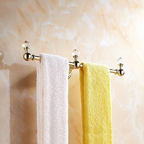 OWOFAN 14-Inch Brass Towel Holder Hanger Single Bar 3 Hooks Bathroom Storage Shelf Wall Mounted Luxury Gold WF-6319K by OWOFAN (Image #2)