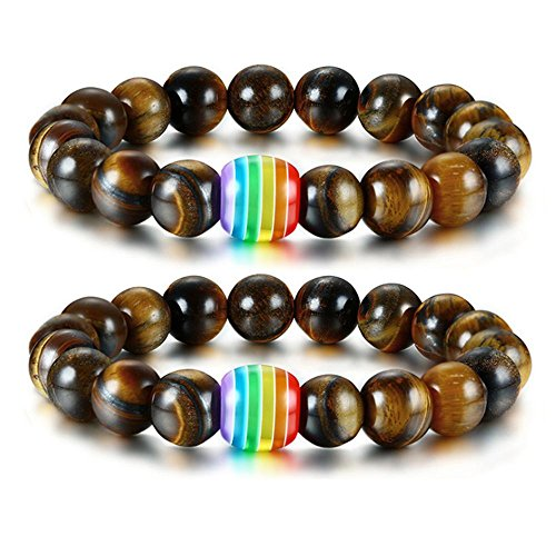 Nanafast LGBT Pride Relationship Rainbow Bracelet Lava Rock/Tiger Eye Stone Bead Bracelets for Gay Lesibian Brown 2 Pcs