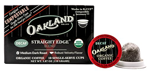 Oakland Coffee Works Straight Edge Decaf Blend Organic Coffee, Single Serve Coffee K-Cup Pods, (10 Count) Keurig Compatible