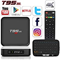 BPSMedia T95M 4K Amlogic S905 Set Top TV Box Android 5.1 Lollipop OS KODI XBMC Quad Core Google Streaming Media Player 2GB/8GB with WiFi HDMI DLNA + H18 Wireless Keyboard W/ Vibration Sense