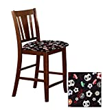 1-24 Inch Counter Height Dining Chair Bar Stool in a Dark Walnut Finish Featuring the Choice of Your Favorite Novelty Theme Fabric Covered Seat Cushion (Soccer)