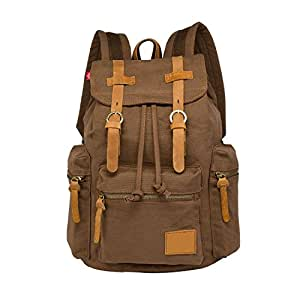 """LUXUR Men and Women Casual Latop Backpack Vintage High Density Thick Canvas Rucksack Bag 30L Fit 13"""" Laptop Coffee"""