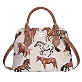 Running Horse Top-Handle Shoulder Bag by Signare/Ladies Unique Tapestry Evening Long-Strap Handbag/CONV-RHOR