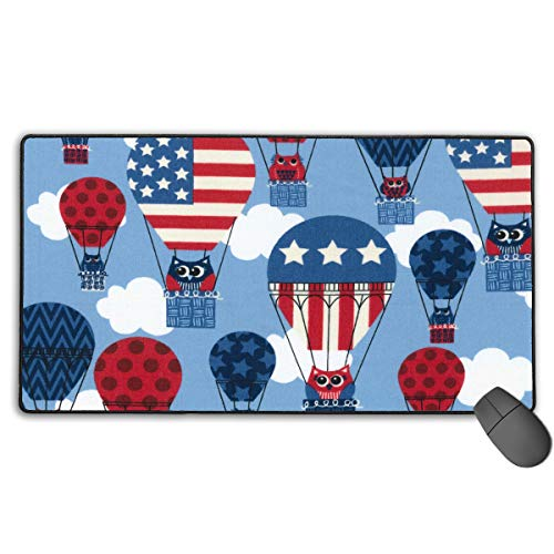 Patriotic Hot Air Balloon American Flag Personalized Design Mouse Pad Gaming Mouse Pad with Stitched Edges Mousepads, Non-Slip Rubber Base, 15.7x29.5 Inches, 3mm Thick - Best Gift -