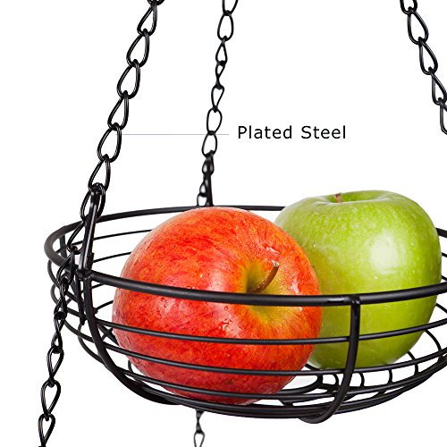 Home Intuition 3-Tier Hanging Basket Heavy Duty Wire, Round (Black) by Home Intuition (Image #1)