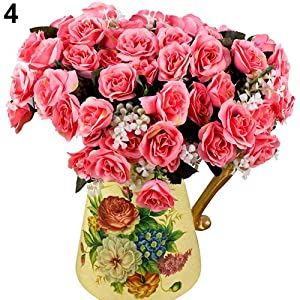 WskLinft 12 Head Artificial Fake Rose Flower Wedding Party Bridal Bouquet Home Room Decor - Rose Pink 13