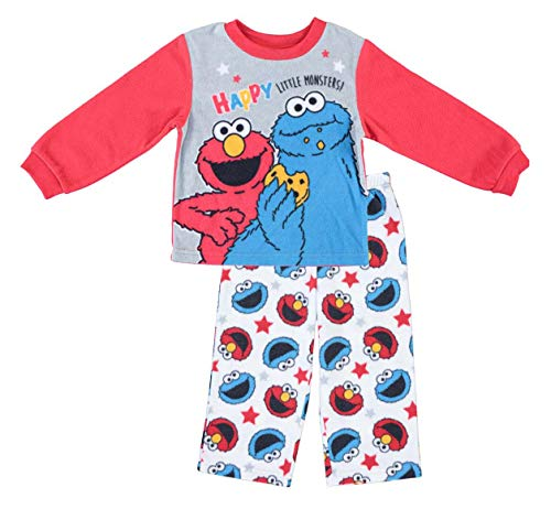 Sesame Street Boys Pajamas Set - 2-Piece Long Sleeve Pajama Set (Red/Blue, 18M) -