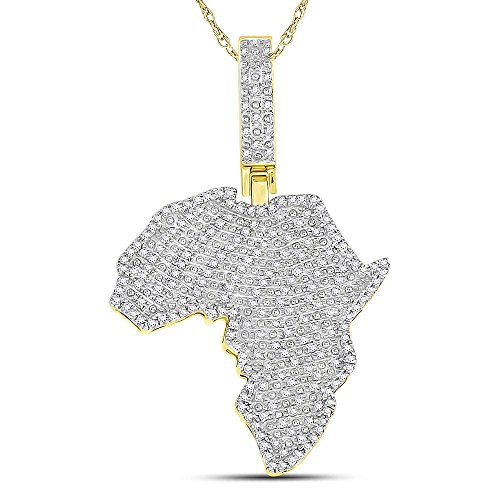 10kt Yellow Gold Mens Round Diamond Africa Continent Charm Pendant 5/8 Cttw (I2 clarity; I-J color) by Jewels By Lux