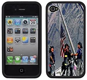 9-11 September 11th Firefighters Handmade iPhone 4 4S Black Hard Plastic Case