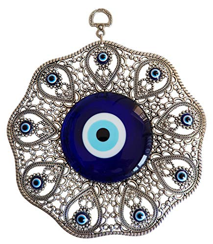 Bead Global Turkish Glass Blue Evil Eye Wall Hanging Ornament - Metal Home Decor - Turkish Amulet - Protection and Good Luck Charm Gift (Silver)