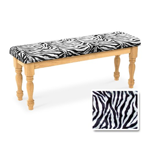 Wood Country Style Natural Farmhouse Dining Bench with Zebra Print Cotton Cushion