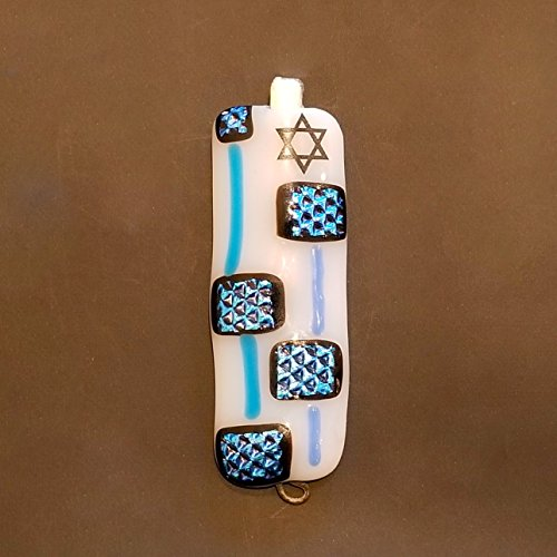 Handmade Fused Glass Art Mezuzah, Dichroic Fused Glass Mezuzah, Jewish Gift, Star of David Mezuzah, Blue and White Home Blessing