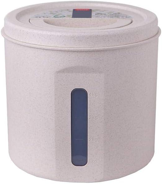 Funihut - Caja de almacenamiento de arroz, caja para cereales, botellas de almacenamiento de alimentos, contenedores de cereales de plástico transparente, 5 kg/20 kg, antihumedad sellada, Couleur du Blé, 5 kg: Amazon.es: Hogar