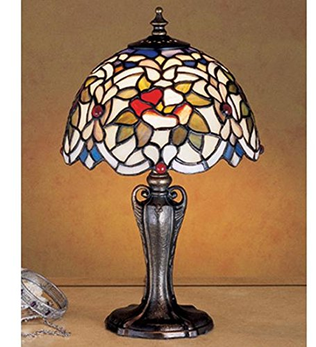 (Meyda Tiffany 30313 Renaissance Rose Mini Table Lamp, Mahogany)