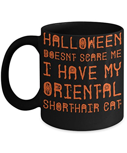Halloween Oriental Shorthair Cat Mug - White 11oz Ceramic Tea Coffee Cup - Perfect For Travel And Gifts -