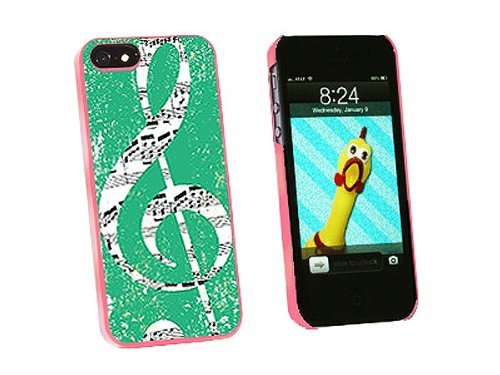 Graphics and More Vintage Treble Clef Music Teal Snap-On Hard Protective Case for iPhone 5/5s - Non-Retail Packaging - Pink