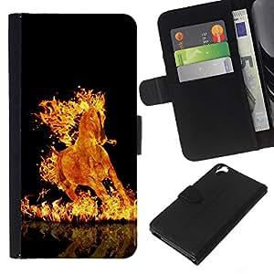 All Phone Most Case / Oferta Especial Cáscara Funda de cuero Monedero Cubierta de proteccion Caso / Wallet Case for HTC Desire 820 // Fire Flames Horse Black Burning Hell Mustang