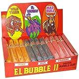 Original Bubble Gum El Bubble II - Assorted Flavors: Wild Tiger (Orange), El Bronco (Purple/Grape), Mad Bull (Pink/Strawberry) - 36 Pieces, 25.4 Ounce