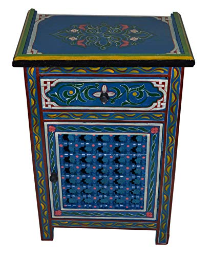 Moroccan Dresser Night Stand Table Arabesque Wood Moorish Hand Painted Handmade