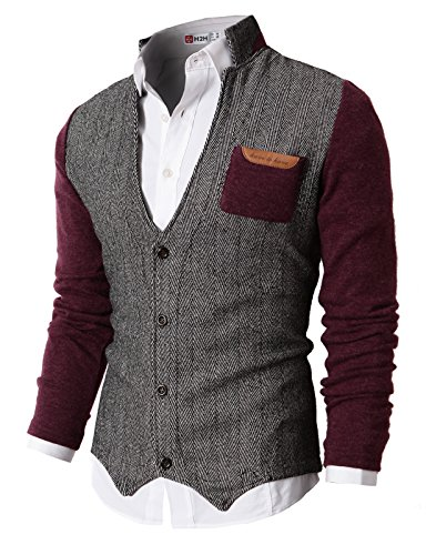 H2H Mens Herringbone Cardigan Sweater of Knitted Sleeves Wine US XL/Asia XXL (KMOSWL015)