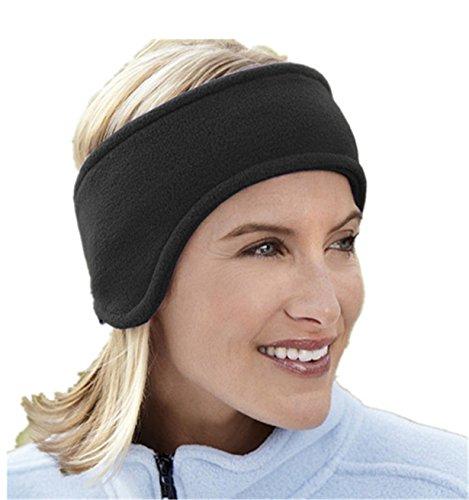 BYEEE Unisex Sportswear / Ear Warmers Headband / Ear Muffs for Men & Women - Stay Warm & Cozy with our Thermal Polar Fleece & Performance Stretch. Perfect for Sports-Daily Wear (Free Size, Black) (Sportswear Thermal)