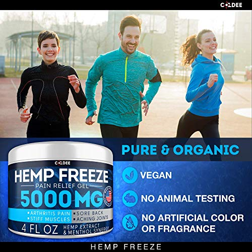 51J8wPCYsrL - Coldee Pain Relief Hemp Oil Gel - 5000 MG, 4 OZ - Max Strength & Efficiency - Natural Hemp Extract for Arthritis, Knee, Joint & Back Pain - Made in USA - Hemp Cream for Inflammation & Sore Muscles