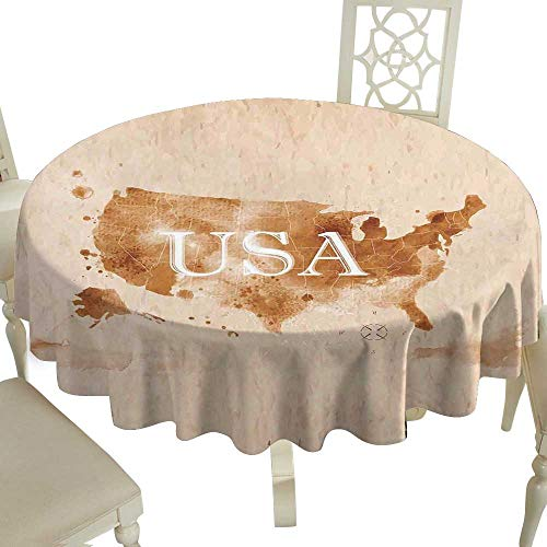 Picnic Round Tablecloth 65 Inch Americana,Early American Retro Map of The Country Southwest and Alaska Image Print,Peru Brown White Great for,Bar & More ()