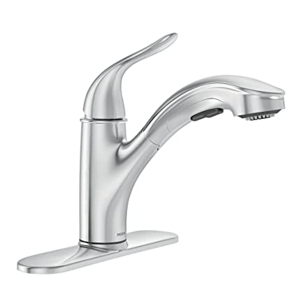 . Moen Brecklyn Single Handle Pull Out Sprayer Kitchen Faucet with Power  Clean in Chrome
