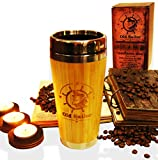 OLD SAILOR Insulated Travel Tumbler 16 oz Double Walled Bamboo & Food Grade Stainless Steel Thermal Coffee & Tea Brew Cold and Hot Beverage Office Home Car Mug